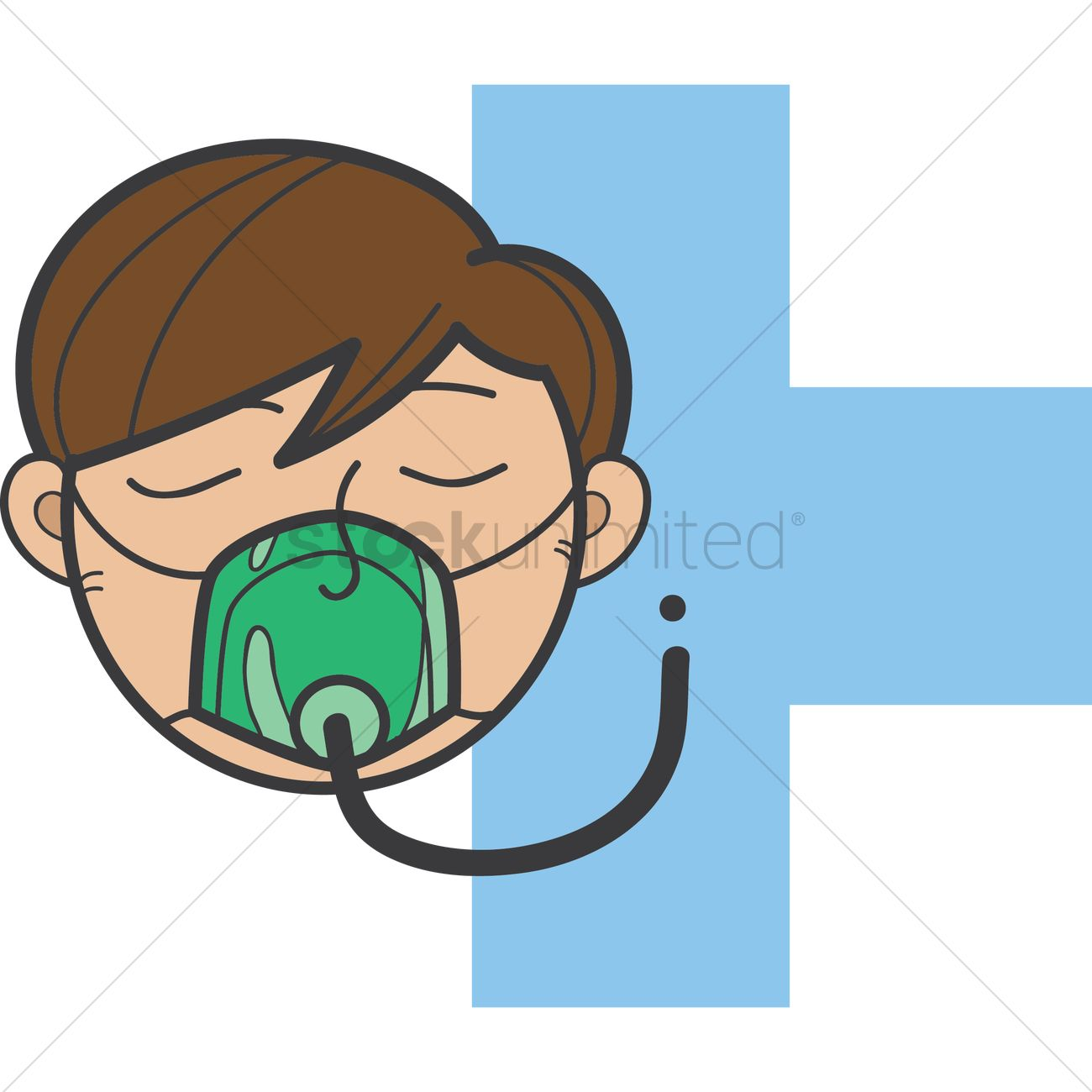 Patient with an oxygen mask Vector Image.