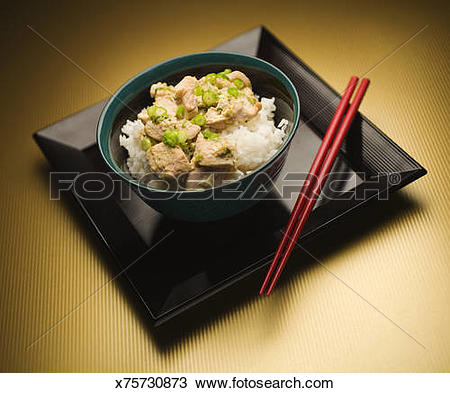 Stock Photo of Oyakodon, Japanese dish with eggs, chicken and rice.