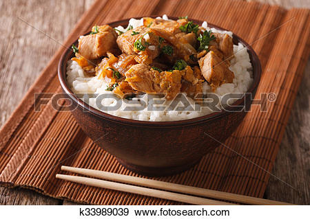 Stock Photograph of Homemade oyakodon and rice close.