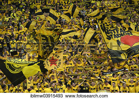 "Stock Photo of ""Fan block, BVB Borussia Dortmund, DFB Cup final."