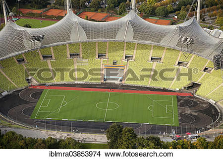 """Stock Photo of """"Aerial view, Olympiastadion, Munich Olympic."""