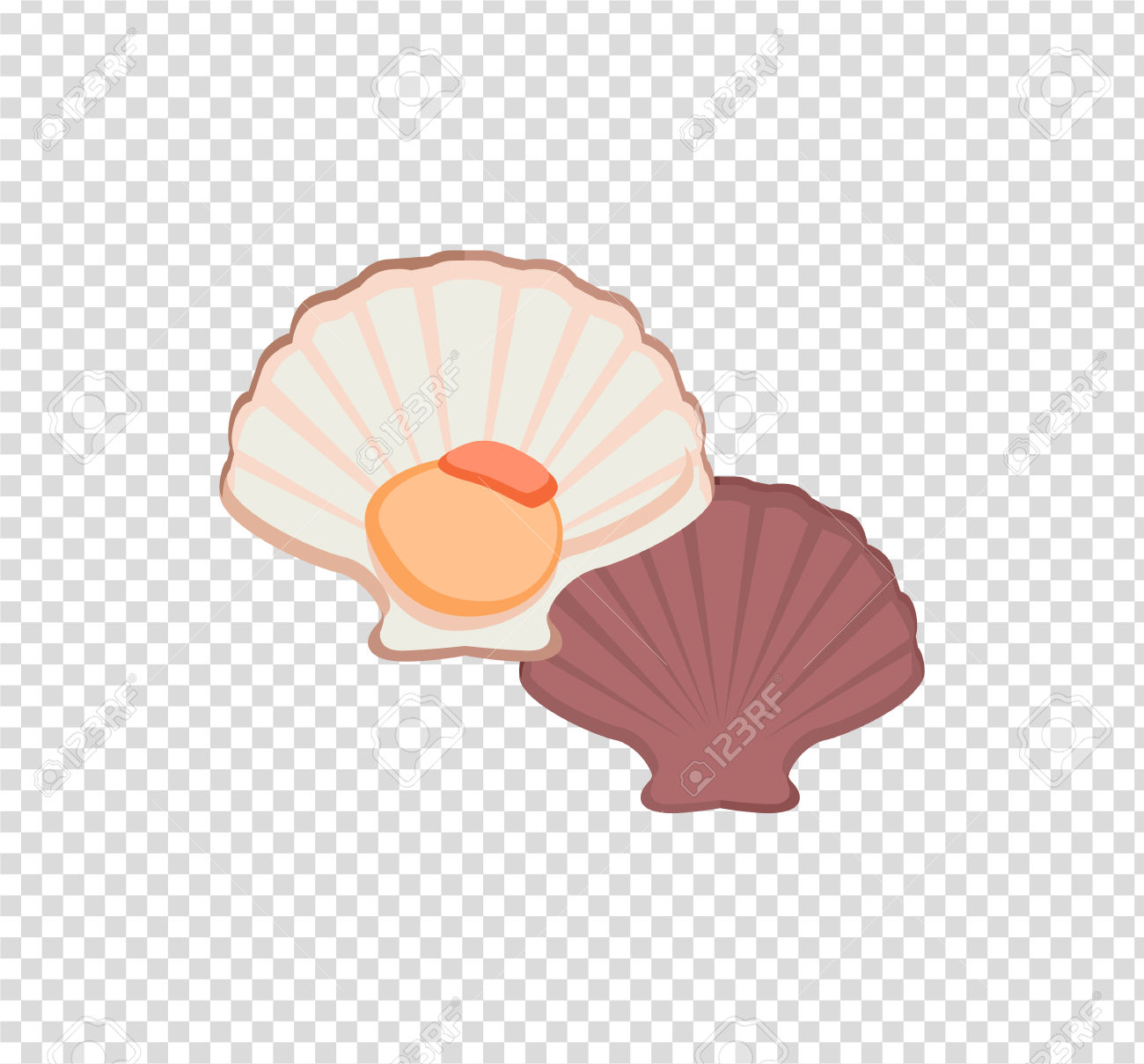 Oysters In Colour Variant. Seafood Concept Icons In Flat Style.