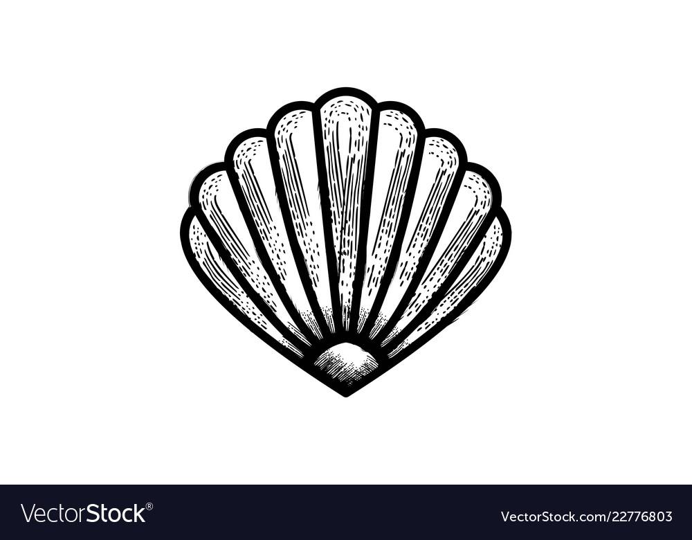 Shell oyster scallop logo design designs.