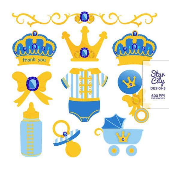 Prince Baby Shower Clip Art for scrapbooking, Royal Gold Prince.