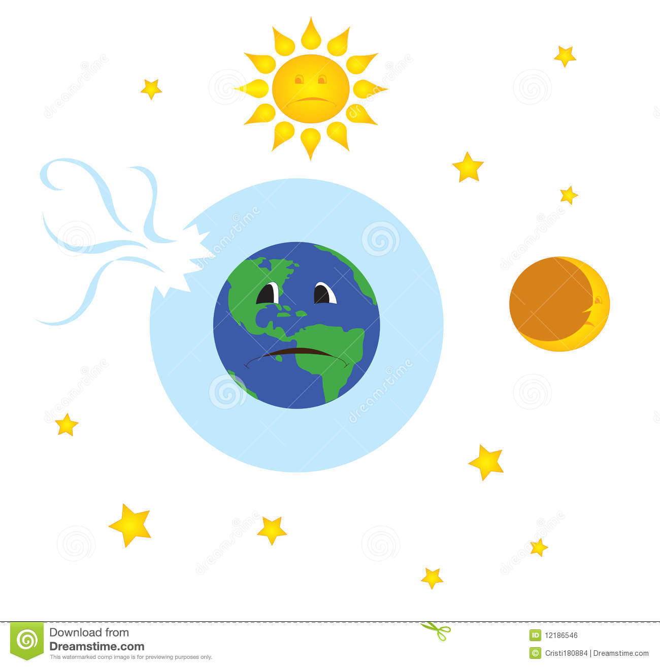 Earth With Broken Ozone Layer Stock Photography.