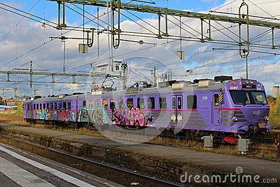 A Train At Luleå Train Station Editorial Photo.