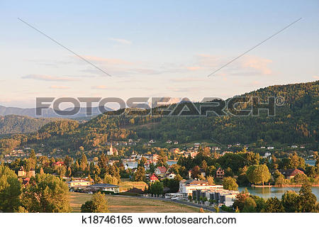 Stock Image of Resort Portschach am Worthersee and Lake Worthersee.