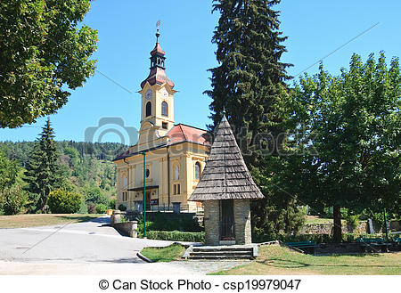 Stock Photo of Parish Catholic Church in Portschach am Worthersee.