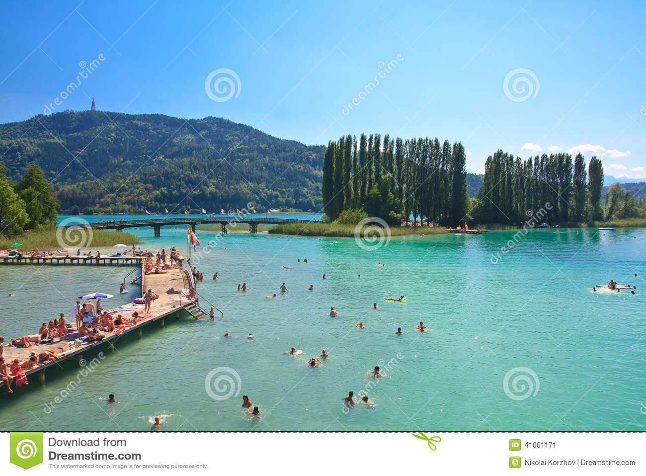 Beach On Lake Worth. Resort Portschach. Austria Editorial Photo.