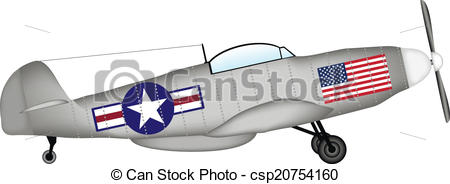 Clip Art Vector of American fighter P.