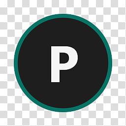 Circular Icon Set, Publisher, white P icon transparent.
