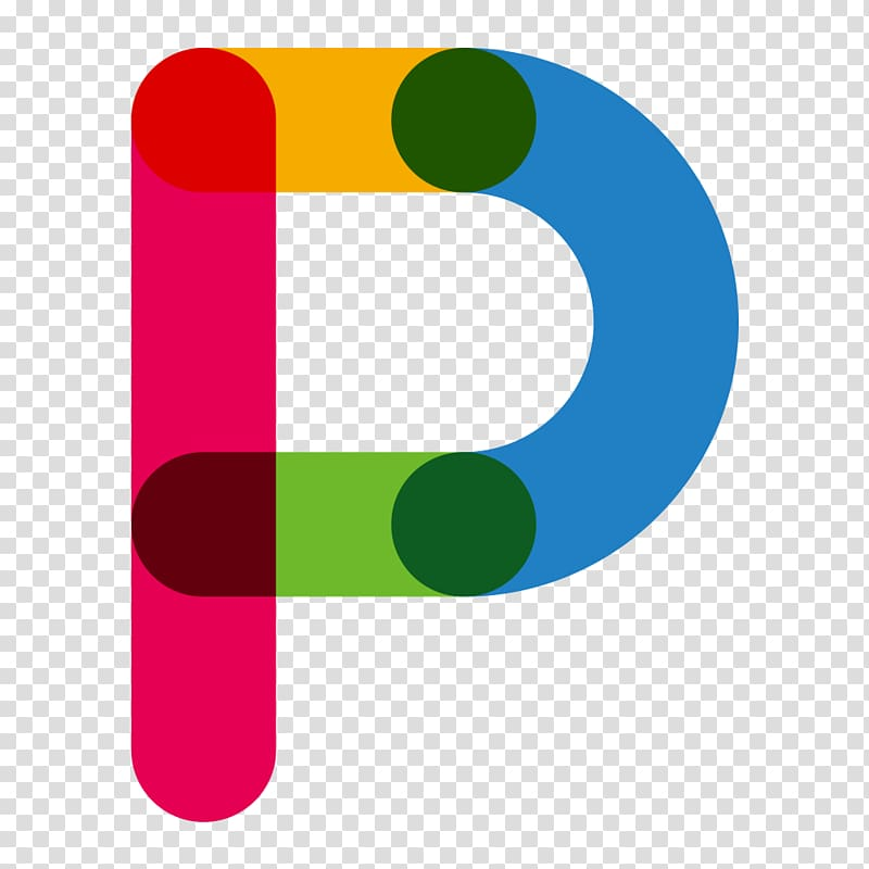P logo, Red Blue Letter P, Color letters P transparent.