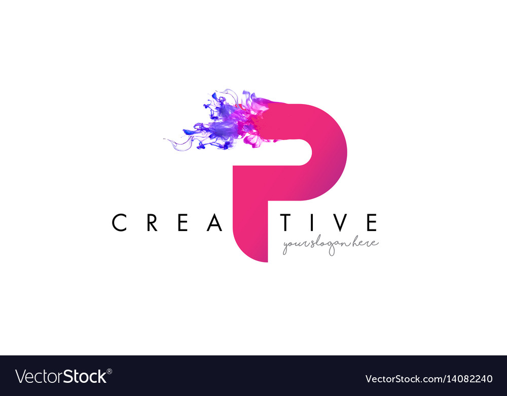 P letter logo design with ink cloud flowing.