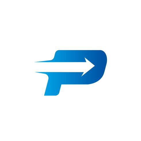 letter P with Arrow logo Design Template.
