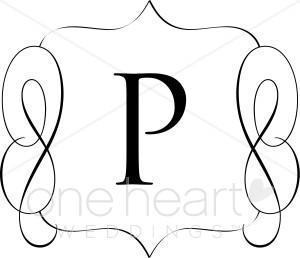 Classic Monogram P Clipart.