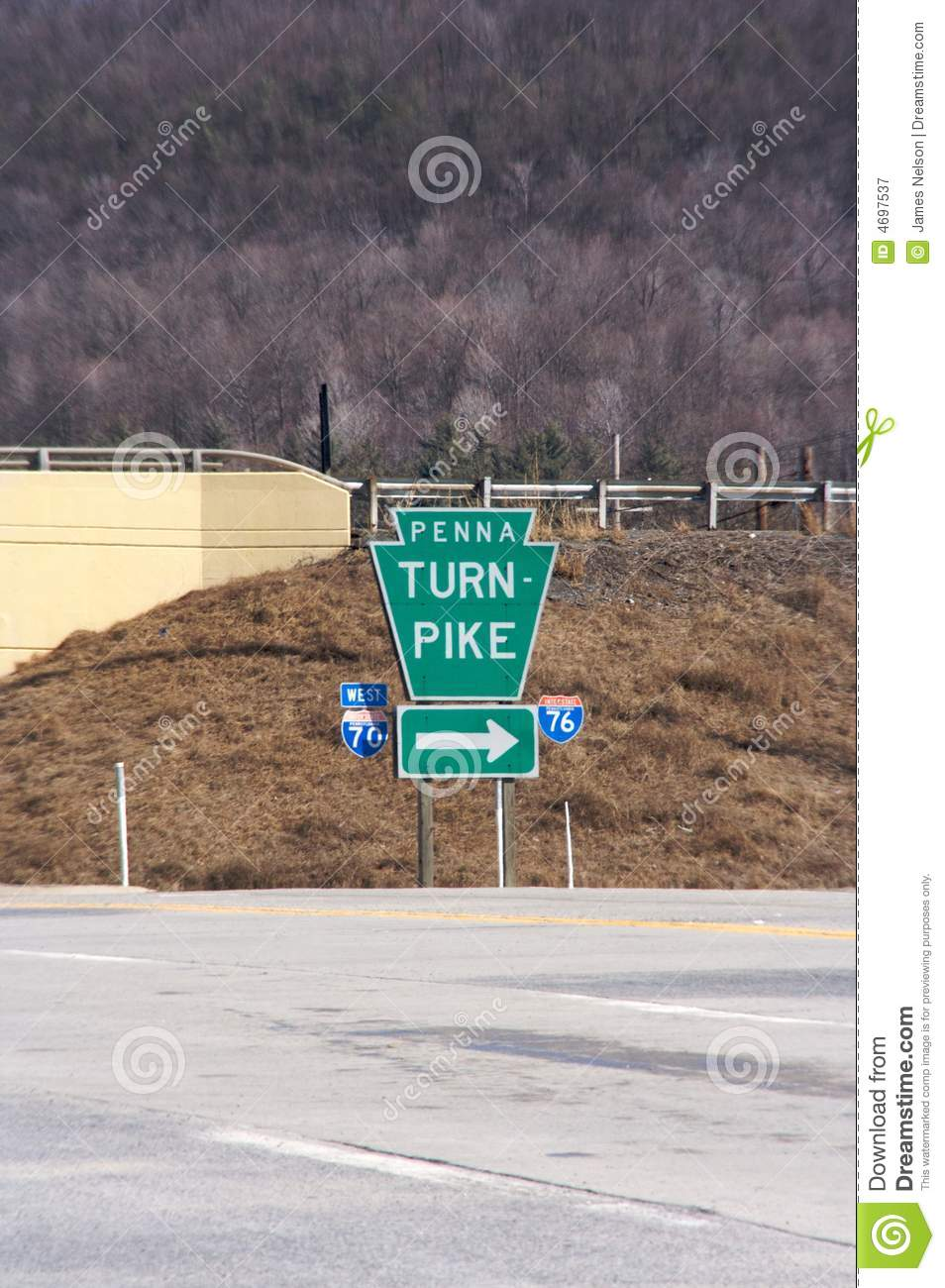 Pennsylvania Turnpike Sign Royalty Free Stock Photography.