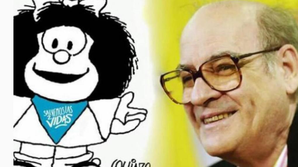 Se viralizó una imagen de Mafalda con pañuelo celeste y.