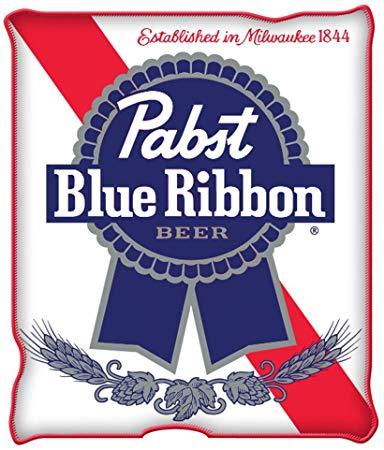 Silver Buffalo Pabst Blue Ribbon Logo Raschel Fleece Throw Blanket.