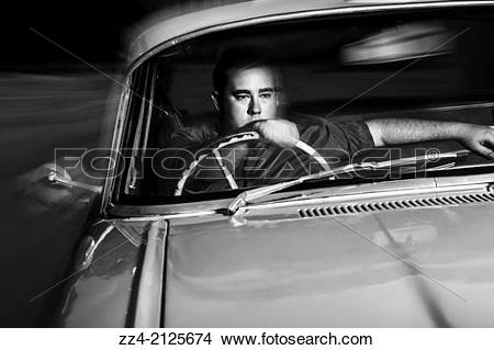 Stock Photo of Vintage black and white photograph of a 50s mobster.