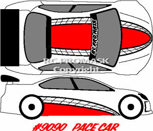 Paint Mask RC 9090 PACE CAR Hot Bodies Associated Losi decal body.