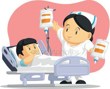 Dibujos animados de enfermera ayuda a paciente infantil.