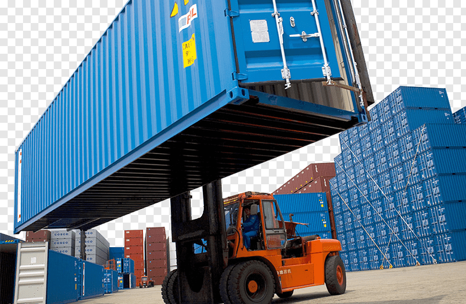 Red and black forklift lifting blue ship container, Cargo.