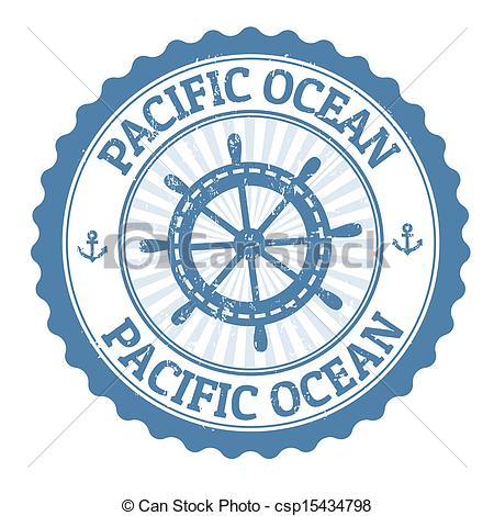 Clipart Vector of Pacific Ocean stamp.