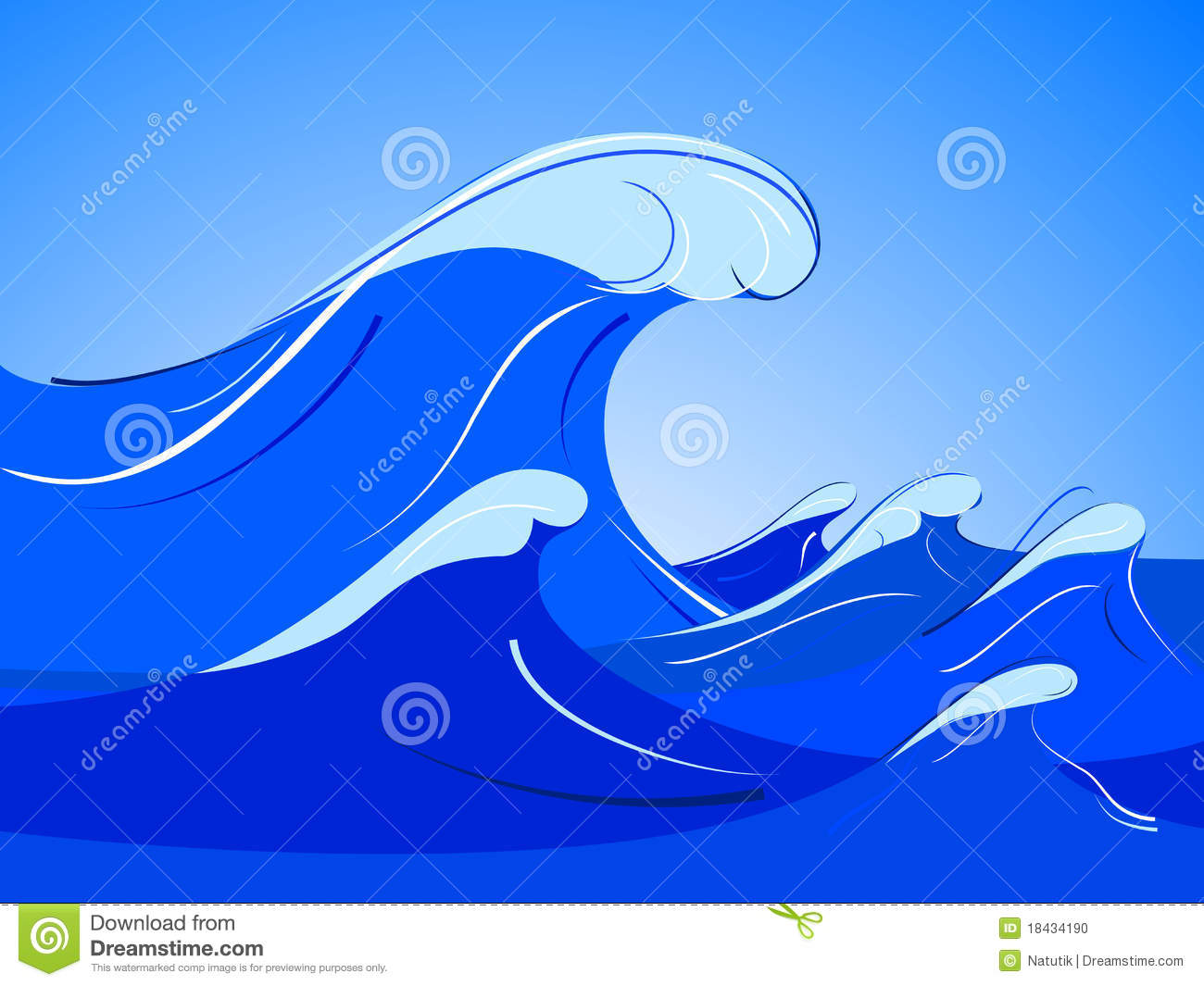 Pacific Big Wave Stock Illustrations.