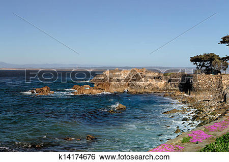Stock Images of Lover's Point at Pacific Grove, California.