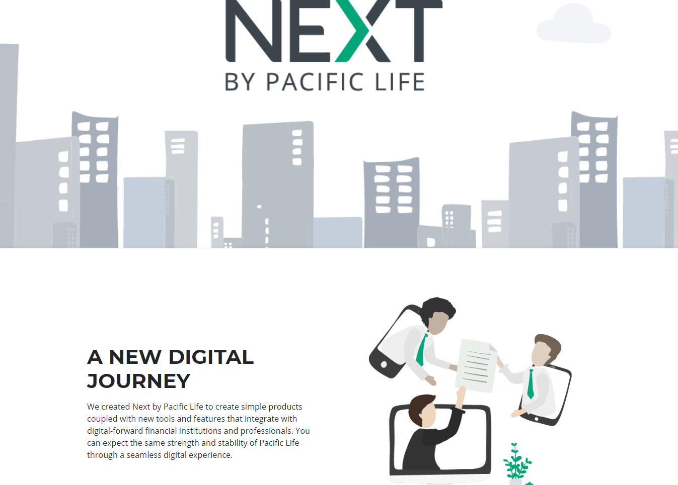 New Next by pacific Life Microsite Homepage.