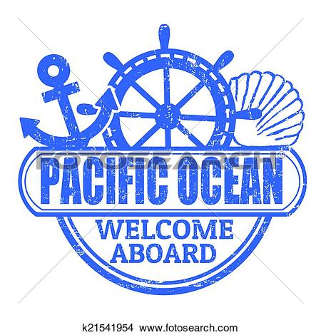 Clipart of Pacific Ocean stamp k21541954.