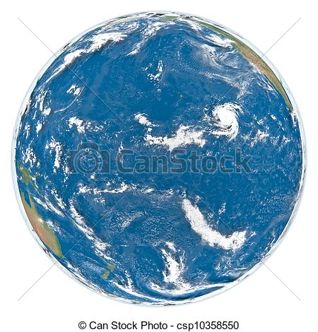 Stock Illustrations of Pacific Ocean from space.