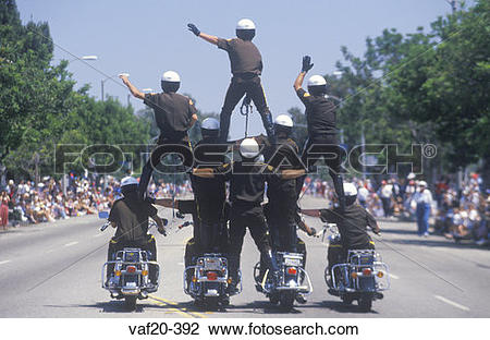 Stock Photo of Motorcycle Police in Pyramid in July 4th Parade.
