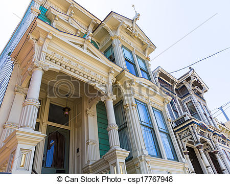 Stock Photo of San Francisco Victorian houses in Pacific Heights.