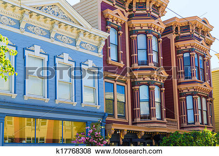Pictures of San Francisco Victorian houses in Pacific Heights.