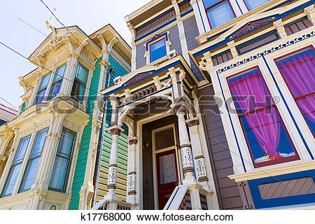 Stock Photography of San Francisco Victorian houses in Pacific.