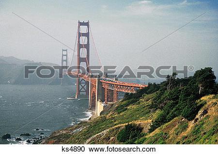 Stock Photography of Uniquely American, Bridge, California, Golden.