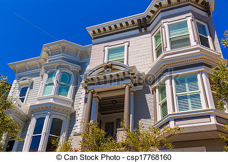 Stock Image of San Francisco Victorian houses in Pacific Heights.