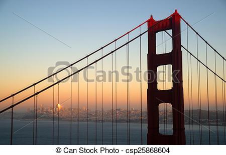 Stock Photography of Sunset San Francisco Golden Gate Bridge.