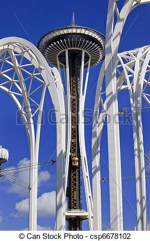 Stock Photo of Space Needle Steel Arches Clouds Pacific Science.