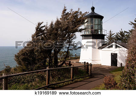 Stock Photograph of Cape Mears Lighthouse Pacific West Coast.
