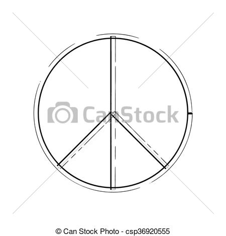 Clipart Vector of peace symbol icon vector friendship pacifism.