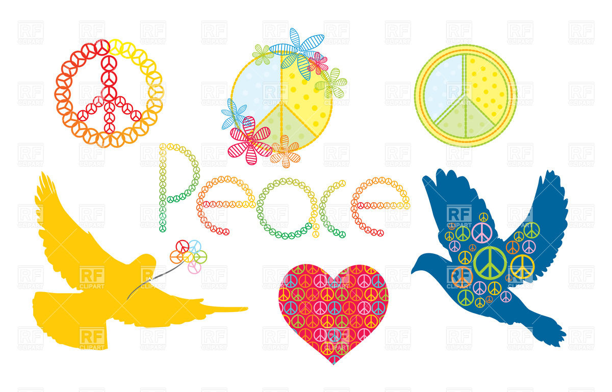 Pacifism (peace) symbols and dove silhouette Vector Image #20137.