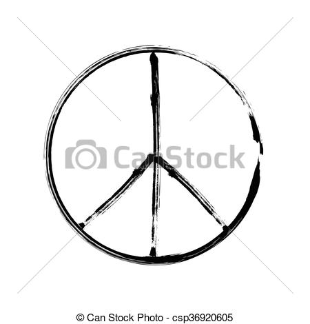 Vector Clipart of peace symbol icon vector friendship pacifism.