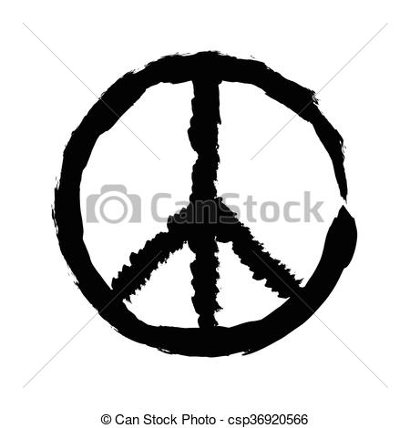 Clip Art Vector of peace symbol icon vector friendship pacifism.