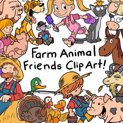 Farm Animals Clip Art Pack.