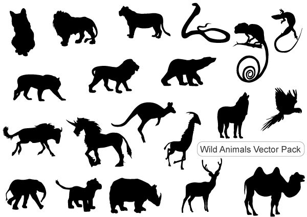 Free Vector Pack: Wild Animals Silhouettes.