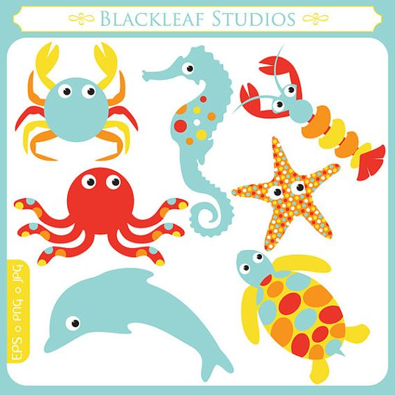 Cute Sea Animals Clipart Set Digital Images, Downloads, Small.