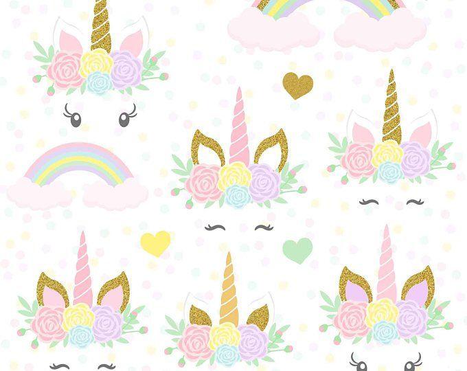Cabeza de unicornio de imágenes prediseñadas oro brillo.