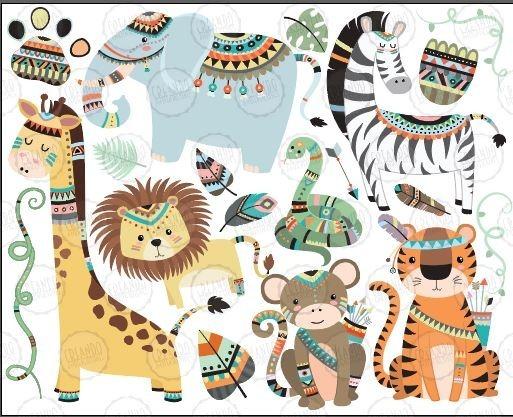 Pack Vectores E Imágenes Sin Fondo Animales Selva Tribales.